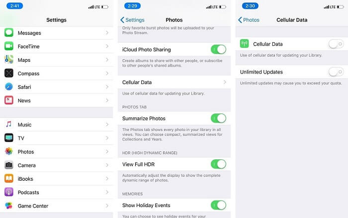 photos disappeared after ios 12 update-Enable cellular data
