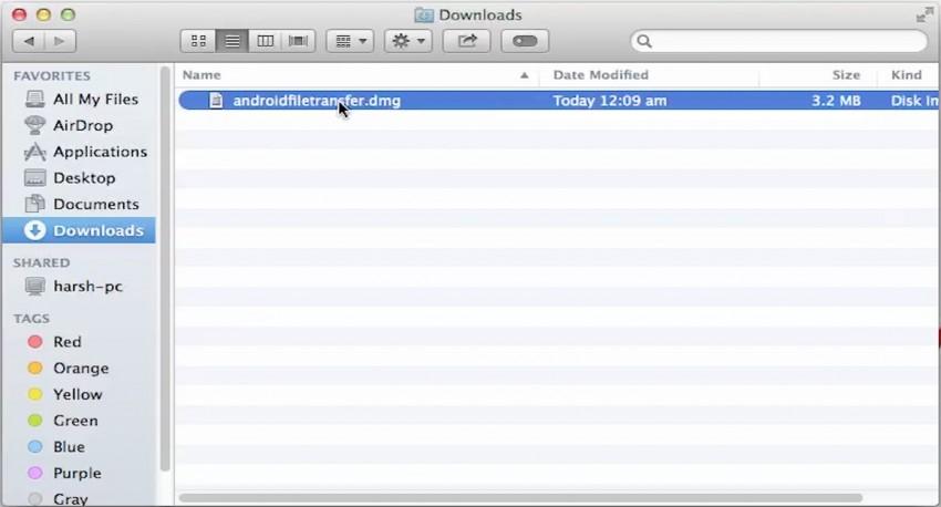 移动到pc文件传输 - 打开androidfiletransfer.dmg