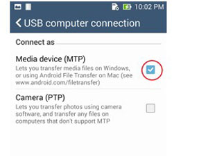 """移动到pc文件传输 - 启用""""USB调试""""选项"""