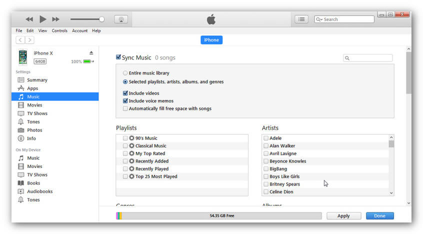 sync music from itunes to iPhone XS (Max) - select music