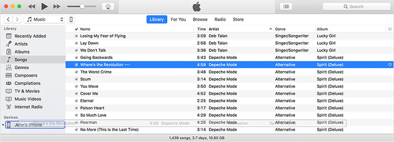 将音乐从mac传输到iPhone XS(Max) - 拖动以传输音乐