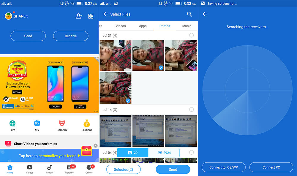use shareit to transfer android photos to iPhone XS (Max)