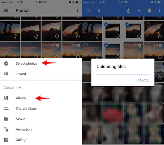 move photos from iphone to computer- google photos