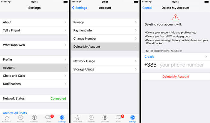 delete whatsapp account by setting iphone