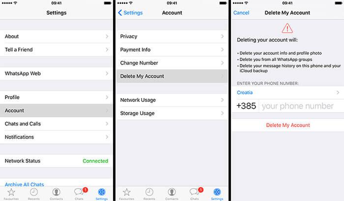 حذف حساب واتسأب من إعدادات iPhone