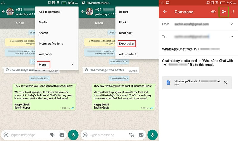 restore whatsapp from google drive to iphone by sending email