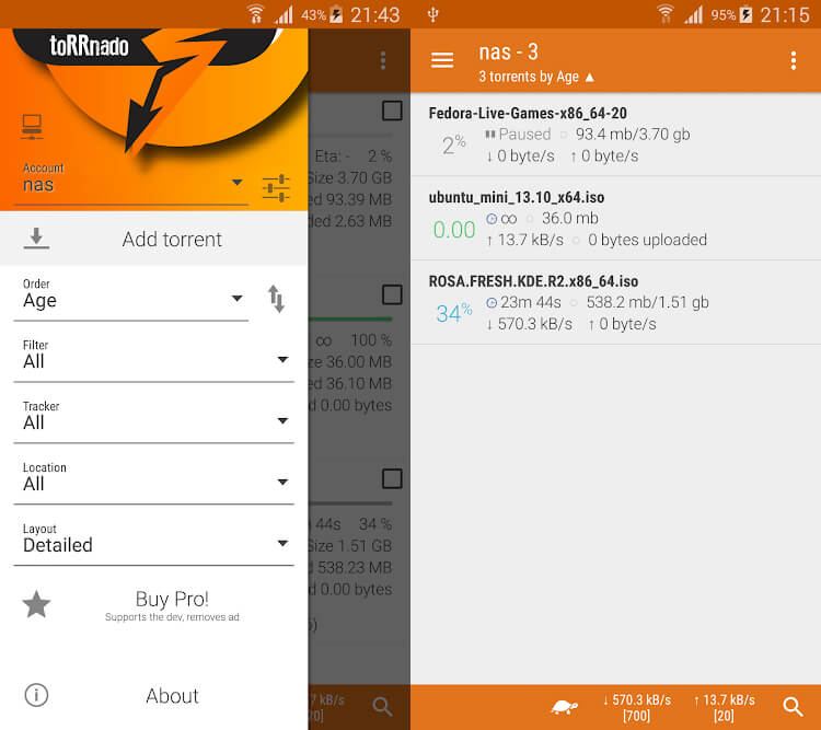 bittorrent for android - torrnado