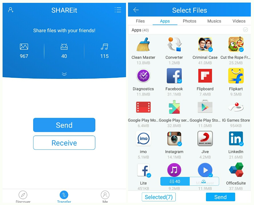 transfer samsung to samsung-use shareit to share