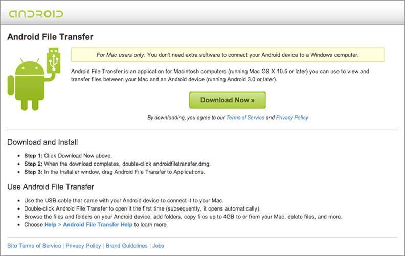 如何将文件从mac传输到android-install Android File Transfer