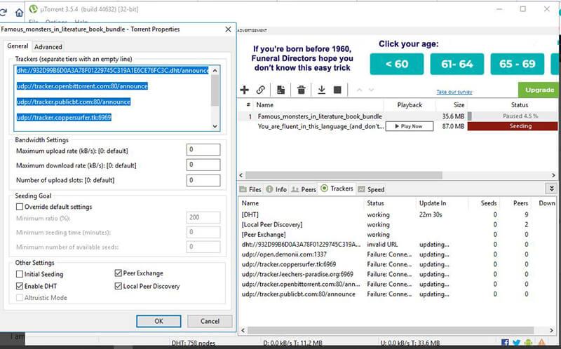 add torrent tracker to torrent client - choose tracker