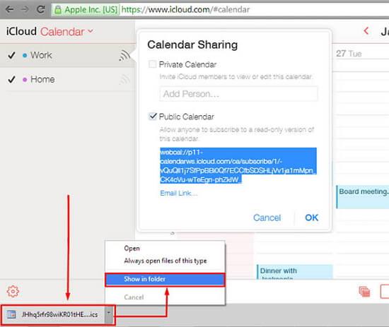 backup icloud calendars - step 3