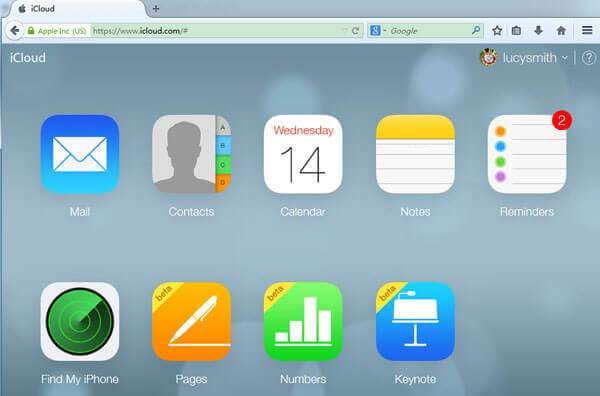sign icloud account to backup icloud contacts
