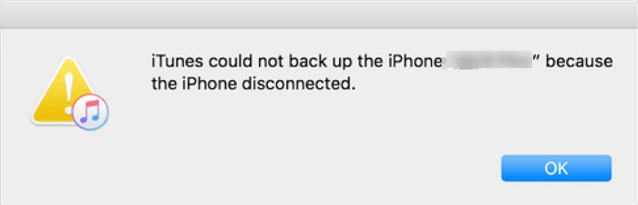 iTunes could not backup the iPhone because the iPhone got disconnected