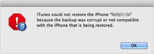 iTunes backup corrupt