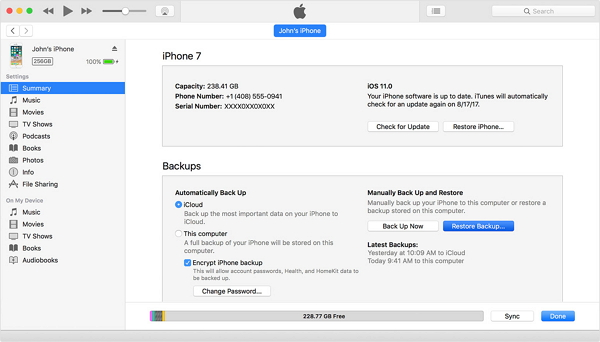 backup do iphone para um computador usando itunes