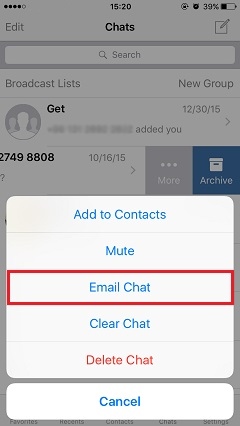 email chat to transfer WhatsApp