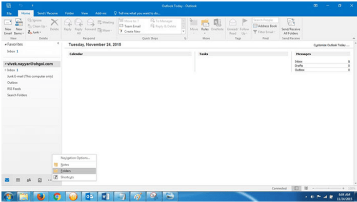 select folders option on outlook