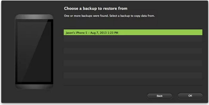 choose to transfer from itunes backup