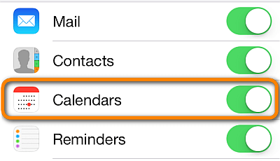 toggle off and on the iCloud for calendars