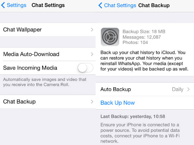 ver último backup do whatsapp