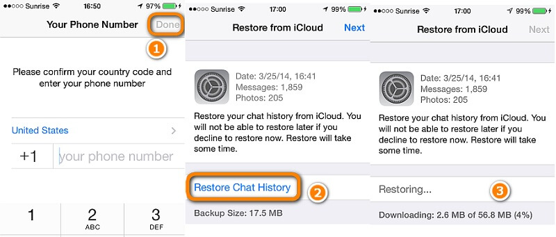 restore whatsapp chats to iphone in the standard way