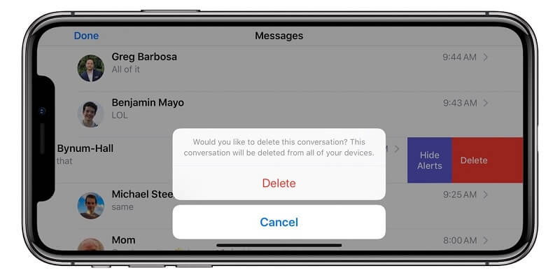 delete messages in icloud