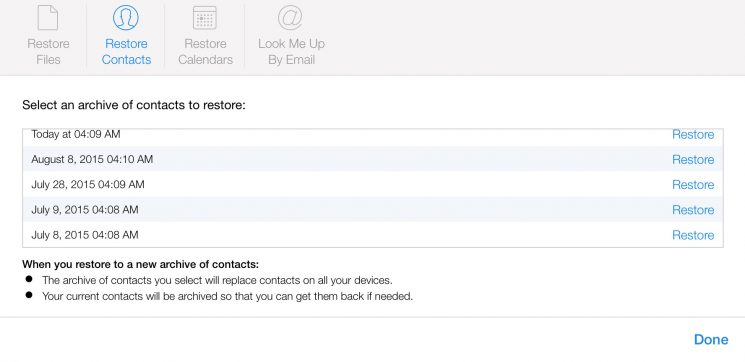 restore iphone contacts from icloud.com
