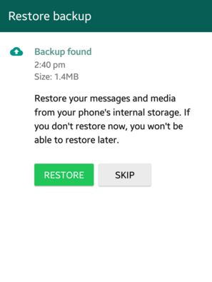 restore whatsapp from local backup