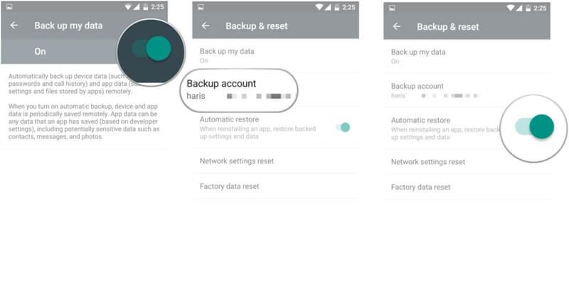 备份三星手机到谷歌帐户 - 第2步