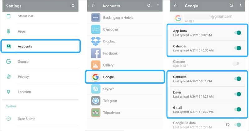 备份三星手机到谷歌帐户 - 第3步