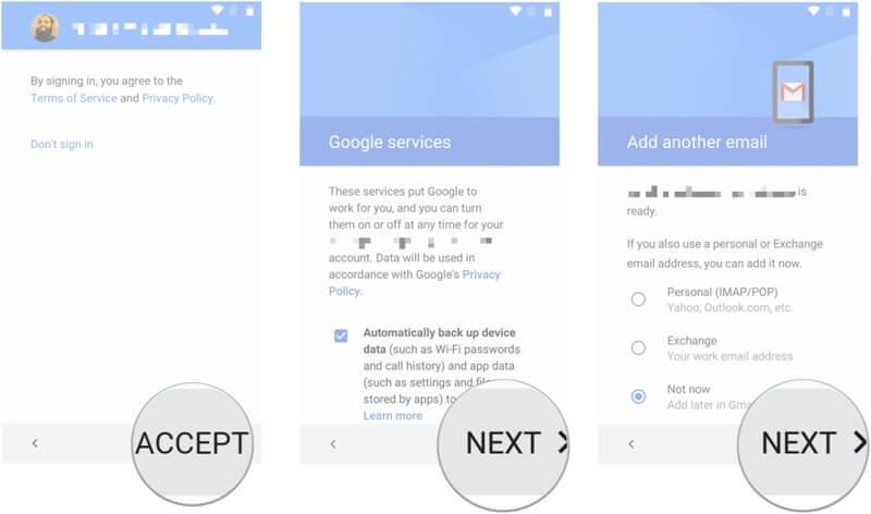 备份三星手机到谷歌帐户 - 第4步