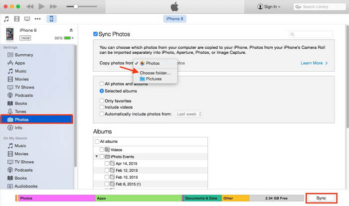 sync photos from samsung to iphone using itunes