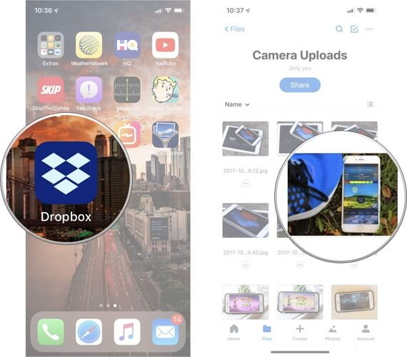 transfer photos from samsung to iphone using dropbox