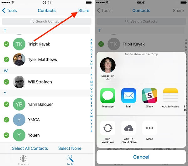 share iphone contacts to s10