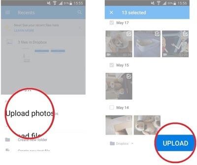Hochladen von Fotos bestätigen