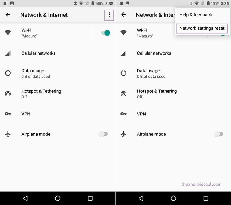 android phone not connecting to wifi - reset network