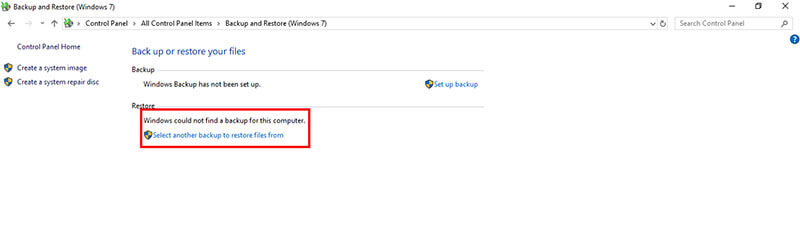 recover emptied recycle bin - select backup to restore