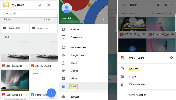 restore google drive trash on ios