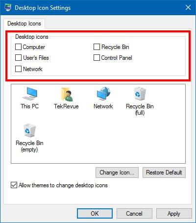 recycle bin in windows 10 - apply settings