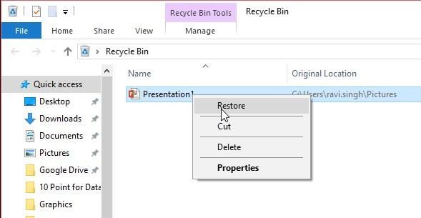 retrieve files from recycle bin in windows 10