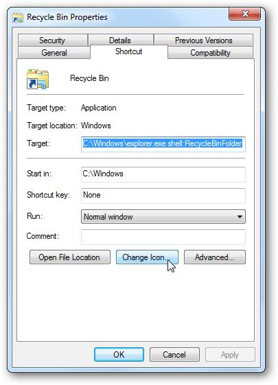 recycle bin in windows 10 - update icon
