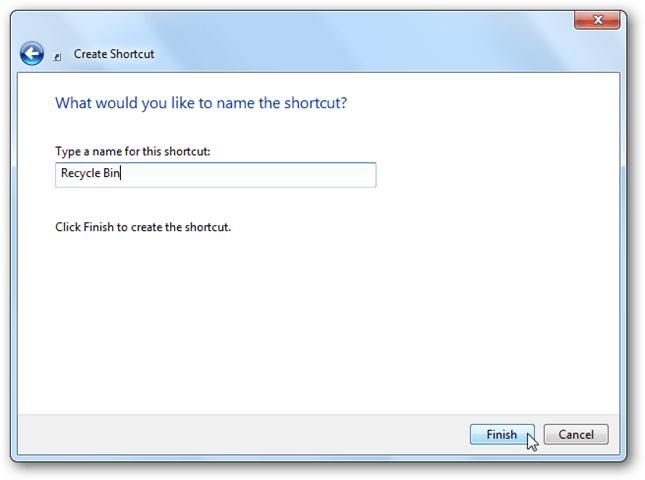 recycle bin in windows 10 - rename shortcut