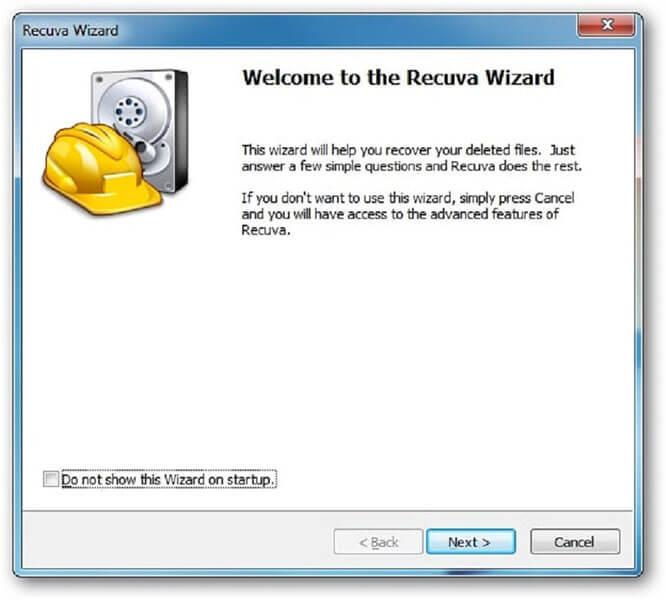 start recuva video recovery