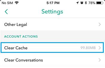 wipe cahce of snapchat crashing - step 3