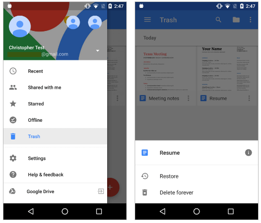 recover google drive trash on android