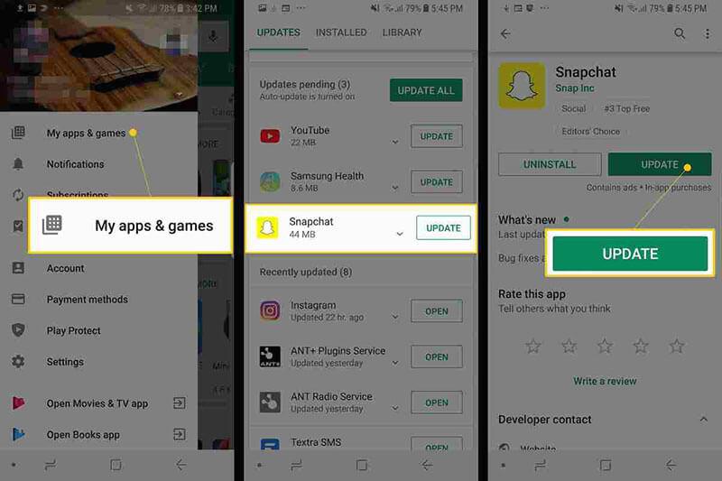 snapchat not responding - check for new updates