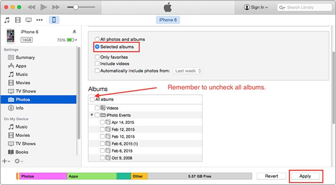remove photos from iPad with itunes