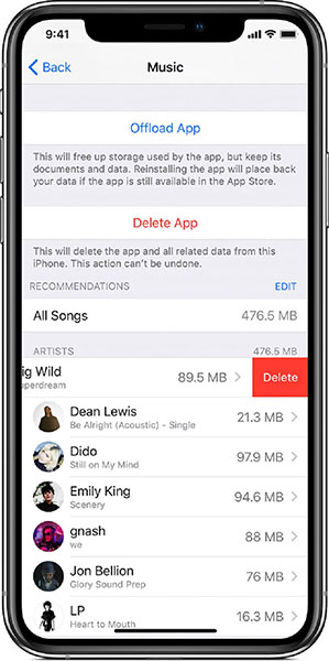 delete itunes downloads on iphone