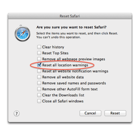 reset to clear cookies of safari of mac