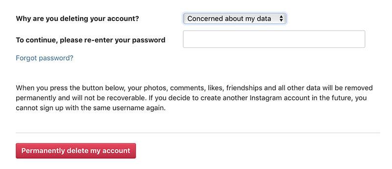 delete instagram permanently